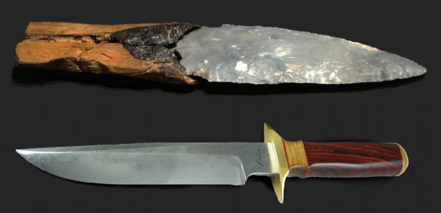 Stone and metal knives